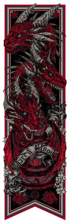 "Game of Thrones: House Targaryen Banner (""Fire and Blood"") by Studio Seppuku - #GameOfThrones --- AWESOME!"