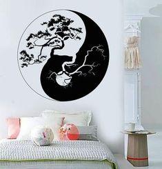 Vinyl Wall Decal Yin Yang Tree Zen Asian Style Stickers Mural (ig3676)