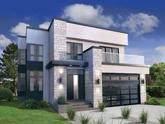 With Contemporary Styling and glass rails on the front deck, this Modern house plan deserves special attention.The sunken foyer is just two steps up to the living area where the two-story living room soars up.The open layout of the main floor lets you move easily from room to room and gives you terrific sightlines.All three bedrooms are upstairs where the deluxe master suite gets a walk-in closet and private wrap-around deck.