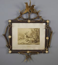 large antique antler wall frame with deer print