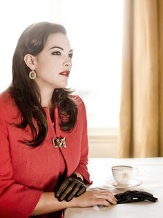 Dutch singer Caro Emerald. The gloves and smart suit work.