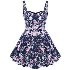 Dark Blue Floral Print Sweetheart Sleeveless Casual Dress