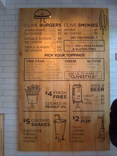 Nice clean craft like menu with illustrations on wood