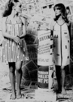 "the60sbazaar: ""Girls modelling paper dresses """