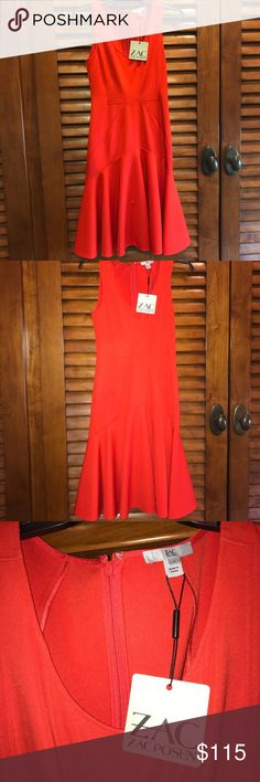 Beautiful red ZAC by Zac Posen dress Beautiful red Zac Posen dress perfect for any occasion! Fit-and-flare contour style. Hugs your curves just right ❤️ Brand new with tags, never worn! Zac Posen Dresses