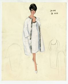 Bergdorf Goodman's 111 Year History: A vintage Dior sketch. Photo: Courtesy of Bergdorf Goodman