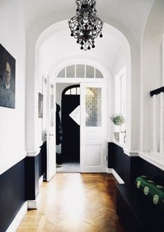 Wainscoting Shelf Built Ins wainscoting colors entry ways.Wainscoting Shelf Built Ins wainscoting colors entry ways.Wainscoting Ideas On A Budget. Style At Home, Black And White Hallway, Black White, White Walls, Black Walls, White Doors, Black Doors, White Trim, Black Ceiling