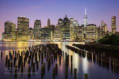 New York City Manhattan downtown skyline at dusk by frdricprochasson