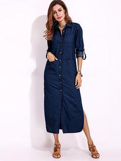 Only US$28.73 shop long sleeve denim shirt dress solid color turn-down collar button dress at Banggood.com. Buy fashion casual dresses online. - Banggood Mobile