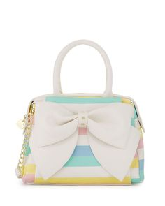 Shop Ready Set Bow Striped Satchel Bag, White/Multi from Betsey Johnson at Neiman Marcus Last Call, where you'll save as much as on designer fashions. Bow Purse, Bow Bag, Satchel Purse, Satchel Handbags, Crossbody Bag, Betsy Johnson Purses, Betsey Johnson Handbags, White Handbag, White Purses
