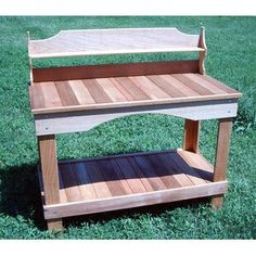 Cedar Creek Woodshop This potting bench is made entirely of beautiful western red cedar. It is lightweight and will withstand many years of use as cedar has it's own natural oils and is resistant to bugs and rot. Bench Plans, Wood Plans, Popular Woodworking, Fine Woodworking, Denver, Red Cedar Wood, Solid Wood Shelves, Bench Decor, Woodworking Furniture Plans