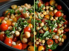 Chickpea and tomato salad with fresh basil/ This is a once a week dish in my house. More when the Jersey tomatoes are in season. Love it!
