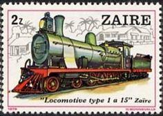 Stamp: History of the railroads, depicting famous locomotives. (Zaire) (Locomotives) Mi:CD 628,Sn:CD 941,Yt:CD 968,Bel:CD 998