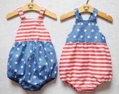 4th of July Baby Romper Baby Girl Romper Bubble by lonymaids