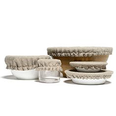 Linen Food Covers (Set of 5) from Kaufmann Mercantile. Alternative to saran wrap and aluminum foil