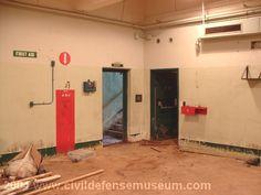 Photo of Northwest corner of magazine with firing room door (right) and entry door (left). Entry Stairs, Entry Doors, Air Ventilation, Sump Pump, Room Doors, Steel Doors, Metal Mesh, Stairways, Restoration