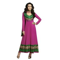 Captivating Pink & Green Embroidered Anarkali Comes With Beige color santoon Bottom,Green Color santoon Dupatta.This suit which can be customzied up to bust size ,Top length Top:Approx 42