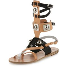 Ancient Greek Sandals Low Multicolor Leather Gladiator Sandal ($545) ❤ liked on Polyvore featuring shoes, sandals, shoes sandals, gladiator sandals, strap sandals, studded flat sandals, studded gladiator sandals and strappy leather sandals