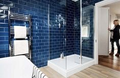 Loft conversion bathroom with blue tiles Clever interior design and bold colour has transformed this loft conversion into a stylish open-plan master suite Bad Inspiration, Bathroom Inspiration, Bathroom Ideas, Bathroom Designs, Master Suite, Open Plan Bathrooms, Loft Bathroom, Master Bathroom, Bathroom Interior Design