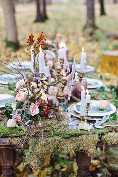 Whether you're looking a fairytale wedding dress or getting married in forest. Here is an Enchanted Forest Fairytale Wedding in Shades of Autumn inspiration shoot,fairy tale forest wedding Enchanted Forest Wedding, Woodland Wedding, Boho Wedding, Wedding Table, Wedding Flowers, Wedding Colours, Trendy Wedding, Enchanted Forest Centerpieces, Elvish Wedding