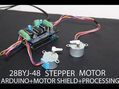 28BYJ-48 Stepper Motor + Arduino + L293D Motor Shield + processing setup test run - YouTube