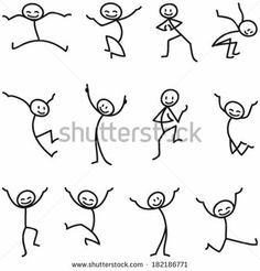 Illustration about Set of vector stick figures: Happy stick man walking and running. Illustration of smiling, stick, walking - 38950966 Doodle Drawings, Easy Drawings, Doodle Art, Stick Men Drawings, Drawing For Kids, Drawing Tips, Cat Drawing, Drawing People, Drawing Animals
