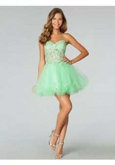 A-line Sweetheart Sleeveless Tulle Homecoming Dress/Short Prom Dresses With Lace #BK363