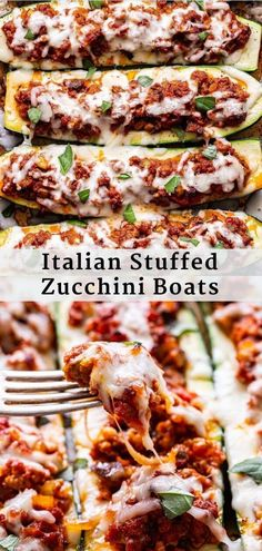 These Italian Stuffed Zucchini Boats are filled with a hearty and flavorful spiced ground turkey, mushroom and marinara sauce mixture. Topped with melted mozzarella cheese for a healthy and easy to make dinner! #zucchiniboats #zucchini #italianfood #lowcarb #healthydinner #easyrecipes #groundturkey Summer Recipes, Healthy Dinner Recipes, Vegan Recipes, Cooking Recipes, Easy Recipes, Dessert Recipes, Zucchini Boat Recipes, Vegetable Recipes, Stuffed Zucchini Recipes