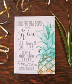 Pineapple Invitation, Pineapple Bridal Shower, Pineapple Wedding, Pineapple Birthday, Party Invitation Printable by PiperPaperieDesign on Etsy https://www.etsy.com/listing/240628755/pineapple-invitation-pineapple-bridal