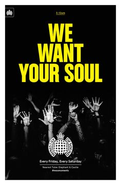 Creative agency Studio Output has designed a set of six promotional posters for Ministry of Sound that will be displayed in 100 London Underground stations, featuring photographs by Paul Bence London Underground Stations, Elephant And Castle, Ministry Of Sound, Club Poster, Music Pics, Music Magazines, Sound Design, Graphic Design Posters, Work Inspiration