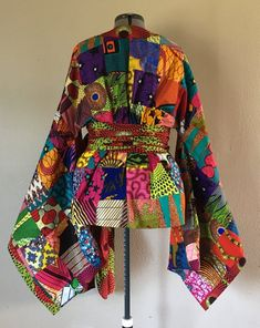 African Wax Print Patchwork Kimono Wrap Top With Wide Belt African Print Dresses, African Print Fashion, African Fashion Dresses, African Dress, African Prints, African Attire, African Wear, African Inspired Clothing, Vetement Fashion