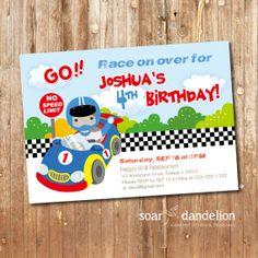 Race Birthday Party Printable Invitation by soardandelion on Etsy, $12.50