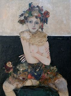 girl with orchidea by Minas Halaj | collage ~ fabric, found objects, paint, latex, and wax 2013