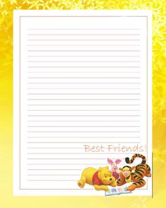 Printable Lined Paper, Free Printable Stationery, Printable Frames, Stationery Templates, Stationery Paper, Disney Scrapbook, Scrapbook Paper, Scrapbooking, Winnie The Pooh Friends