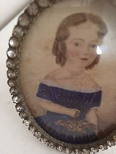 Antique Victorian Miniature Portrait. Painted Young Girl