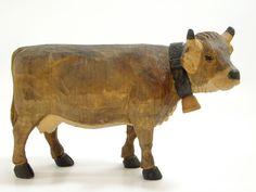 Jobin Wood Carved Cow 3855 Brienz Switzerland Figurine Statuette Vintage Detail
