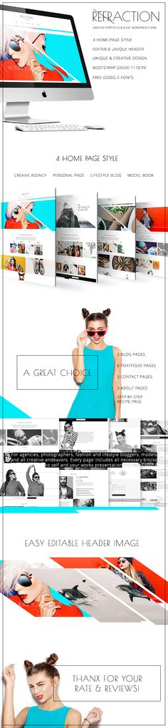 Refraction  Multipurpose WordPress Theme (Creative)  To live brightly you need to surround yourself with bright colors. Present your portfolio a small musical or any art site in positive colors. Raise the mood of your readers and attract always-new audience.  We present you a new Refraction  Creative Agency Photographer Personal Lifestyle Model WordPress Theme. Creative bright positive pattern  designed especially for those who are looking for new fresh emotions to represent their…