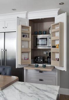 Bespoke breakfast station complete with pull out tray for extra prep space and concealed microwave Kitchen Pantry Design, Modern Kitchen Design, Home Decor Kitchen, Interior Design Kitchen, Home Kitchens, Kitchen Ideas, Home Renovation, Home Remodeling, Küchen Design