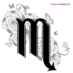Scorpio and flowers tattoo design
