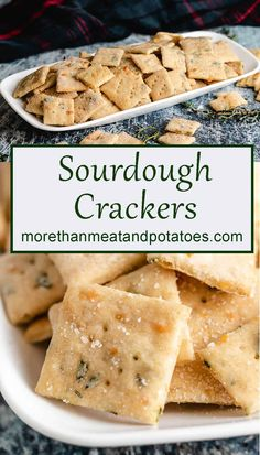 Homemade sourdough crackers flavored with Parmesan cheese, fresh herbs, and sea salt. They're perfect for soups, salads, or as a tasty snack! Sourdough Starter Discard Recipe, Sourdough Recipes, Bread Recipes, Starter Recipes, Yummy Snacks, Snack Recipes, Cooking Recipes, Vegetarian Recipes, Biscuits