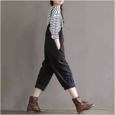 Cute-Sweet-Black-Woman-suspenders-pants-Lolita-Mori-Girl-Loose-Janpanese-Style