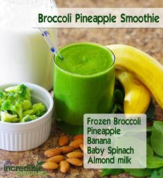 Day 13 - Broccoli Pineapple Smoothie · 1 cup frozen broccoli · 1 and 1/2 cups pineapple, cubed · 1 banana, peeled · 3 cups baby spinach · 8 ounces (236 ml) unsweetened almond milk