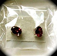 Mozambique Garnet Stud Earrings Nickel Free Sterling Silver    $24.95