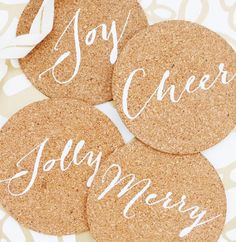 10 awesomely easy DIY hostess gifts--- aka shit i want in my house Homemade Coasters, Cork Coasters, Diy Christmas Ornaments, Diy Christmas Gifts, Merry Christmas, Diy Halloween Costumes For Women, Christmas Costumes, Crafts For Kids, Diy Crafts