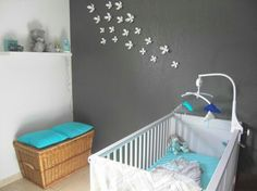 Chambre bébé gris turquoise