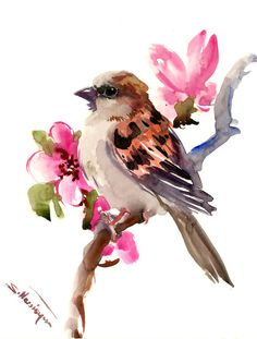 Sparrow and Spring Blossom, Original one of a kind yard birds, bird artwork, pink brown art 10 X 8 in by ORIGINALONLY on Etsy # bird learning to fly Your place to buy and sell all things handmade Bird Artwork, Watercolor Artwork, Watercolor Bird, Watercolor Animals, Watercolor Illustration, Bird Drawings, Art Drawings Sketches, Art Marron, Brown Art