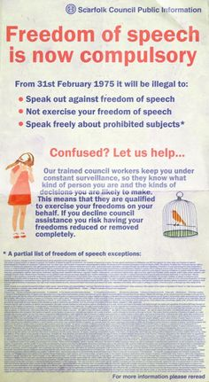 "NEW! ""It is now illegal to speak out against freedom of speech"" 