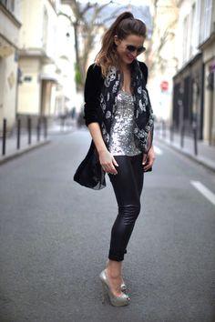 giorgio armani velvet blazer, zara sequin tank + leather trousers, alexander mcqueen scarf + jimmy choo sunglasses & silver heels