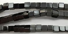 """K14-BAGT8  Black Agate Smooth Cube 8mm 15.5"""""""