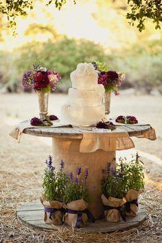 Rustic Wedding Cake Table Display | rustic wedding cake display